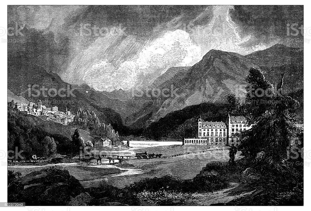 Antique illustration of Switzerland: Saint Moritz vector art illustration
