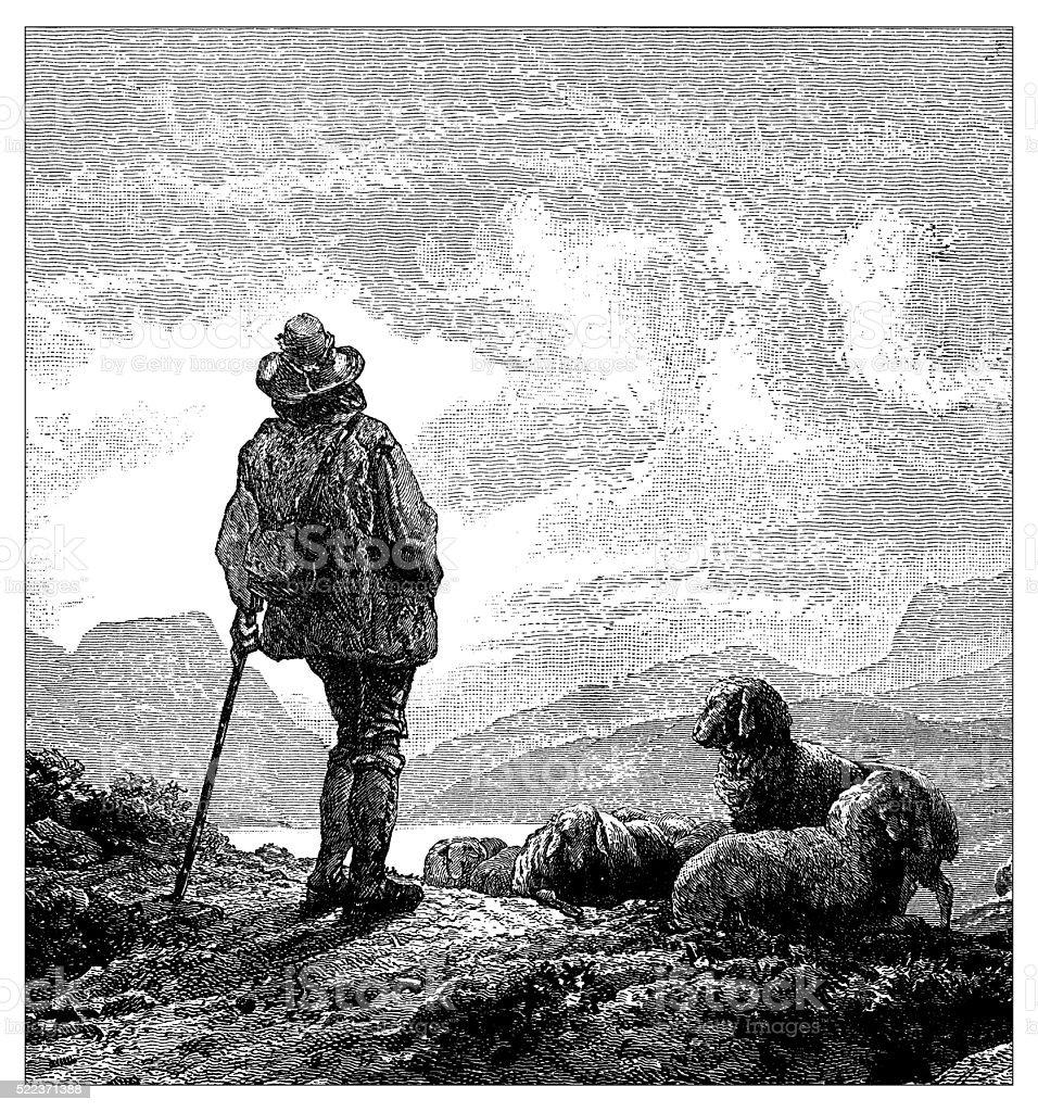 Antique illustration of Switzerland: Shepherd vector art illustration