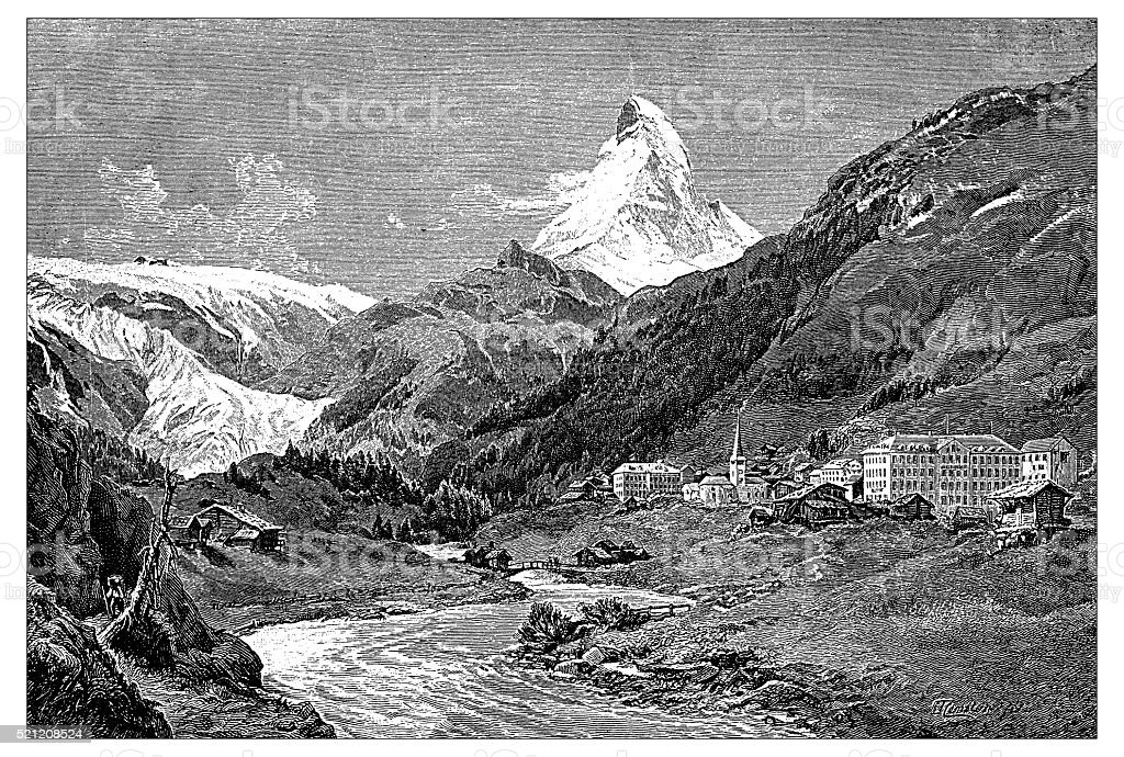 Antique illustration of Switzerland: Zermatt and Matterhorn vector art illustration