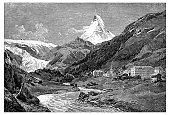 Antique illustration of Switzerland: Zermatt and Matterhorn