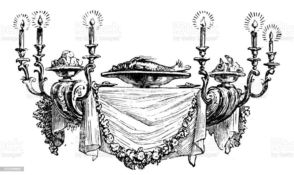 Antique illustration of table-shaped chandelier: vector art illustration
