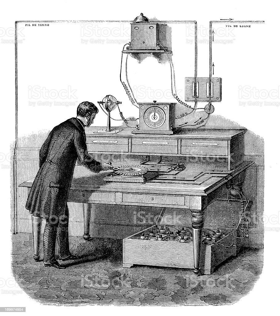 Antique illustration of telegraph royalty-free stock vector art