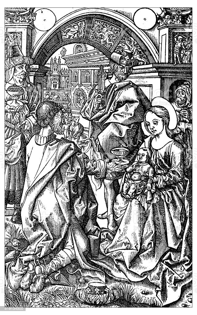 Antique illustration of The Adoration of the Magi vector art illustration