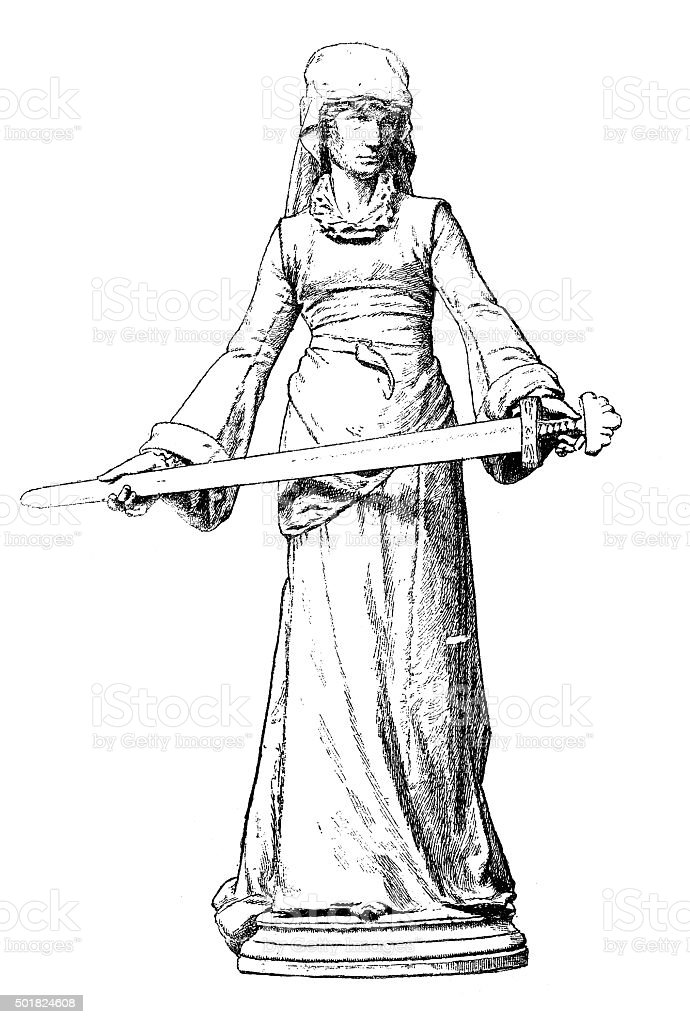 Antique illustration of the Daughter of Roland with Durandal sword vector art illustration