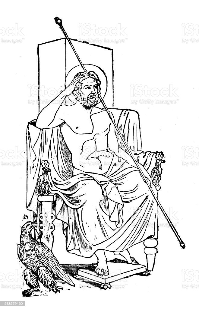 Antique illustration of the god Jupiter vector art illustration