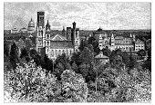 Antique illustration of the Smithsonian Institution at Washington