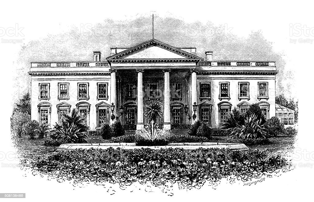 Antique illustration of The White House vector art illustration