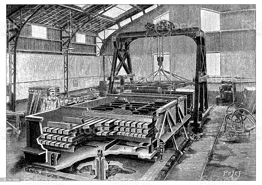 Antique illustration of timber carpenter factory vector art illustration