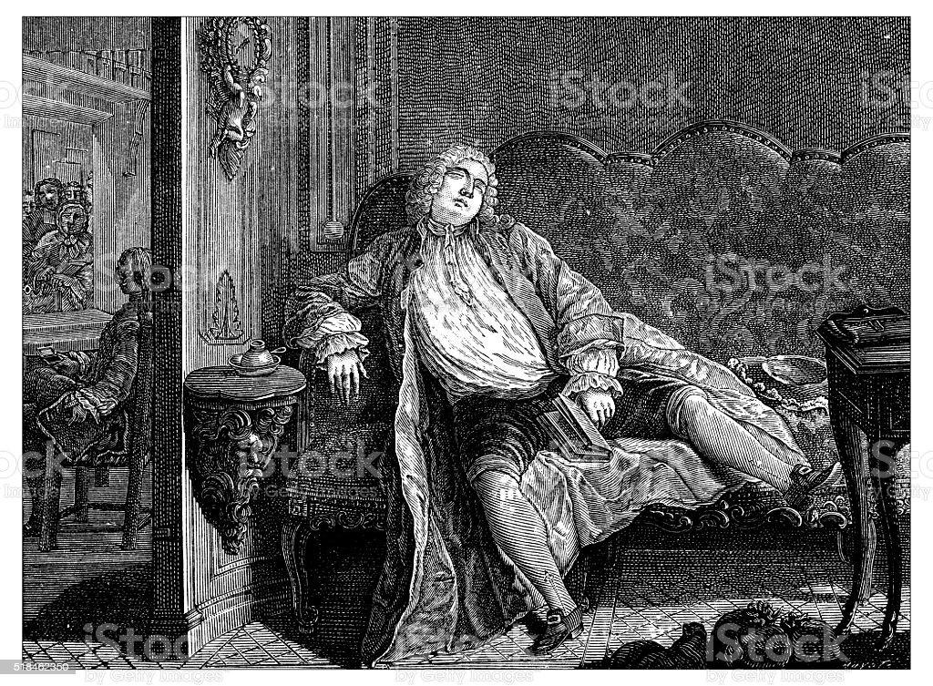 Antique illustration of tired man vector art illustration