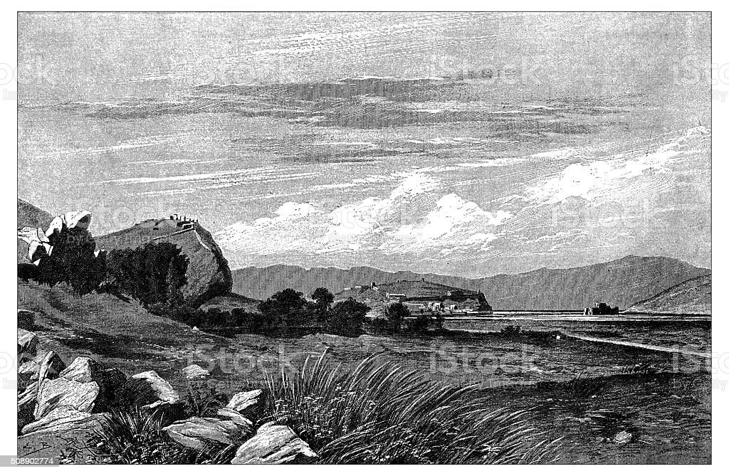 Antique illustration of Tiryns and Nauplion (Nafplio), Greece vector art illustration