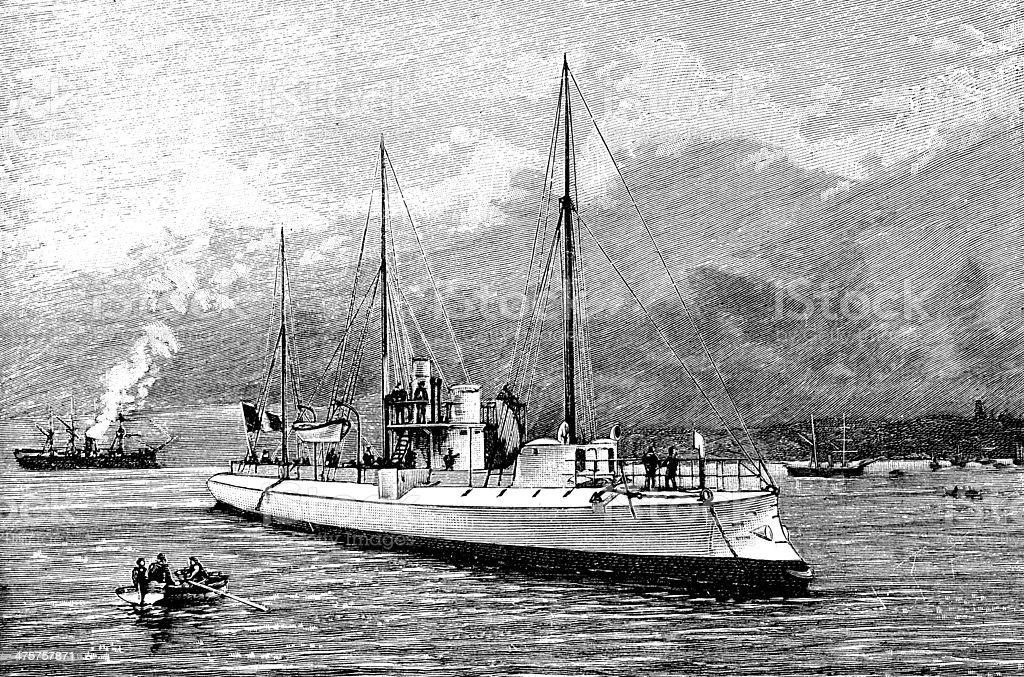 Antique illustration of Torpedo boat vector art illustration