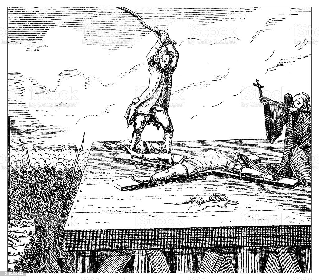 Antique illustration of tortures and death penalty vector art illustration