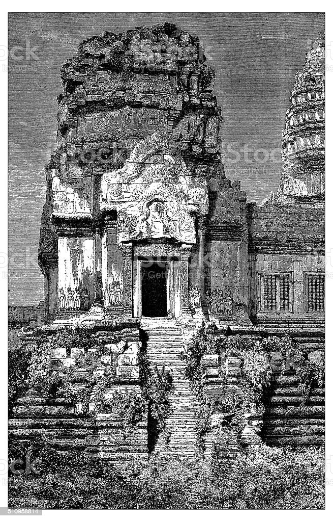 Antique illustration of tower belonging to Angkor Wat (Cambodia) vector art illustration