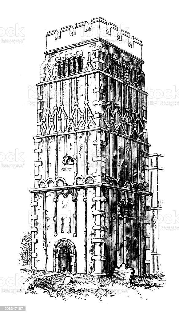 Antique illustration of Tower of Earl's Barton, Northamptonshire vector art illustration