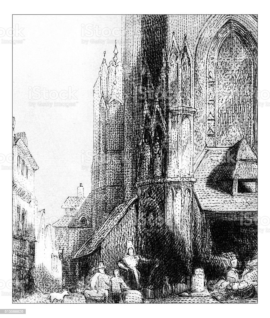 Antique illustration of town square cathedral vector art illustration