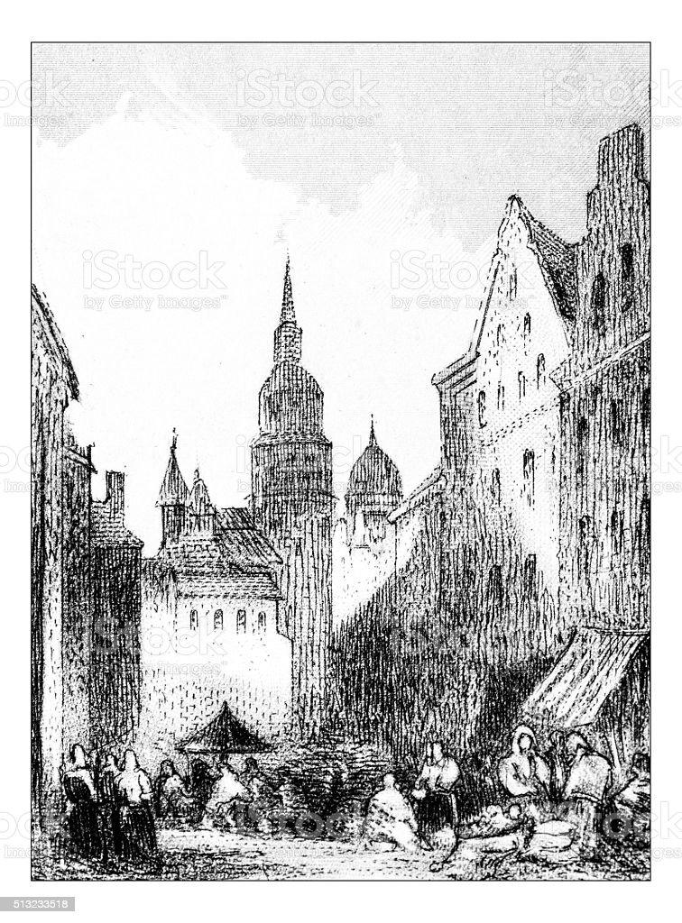 Antique illustration of town square vector art illustration