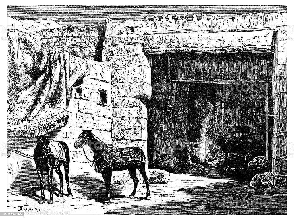 Antique illustration of traditional house in Ha'il (Saudi Arabia) vector art illustration