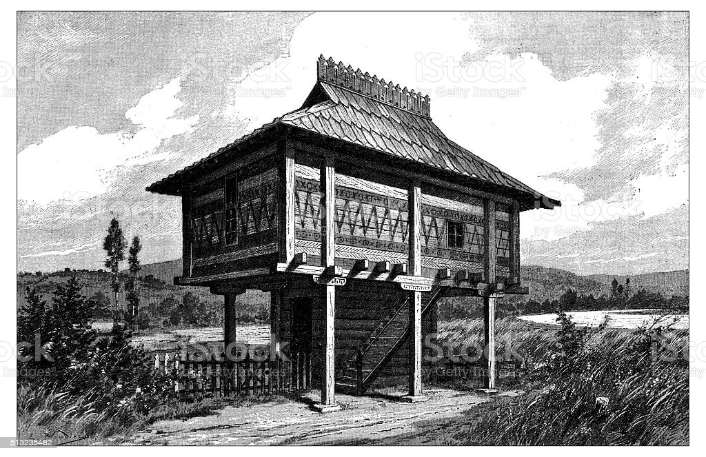 Antique illustration of traditional Slavic house vector art illustration