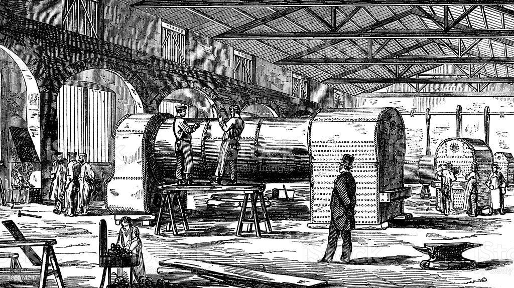 Antique illustration of train construction royalty-free stock vector art