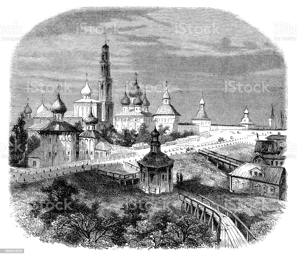 Antique illustration of Troitza monastery in Russia royalty-free stock vector art