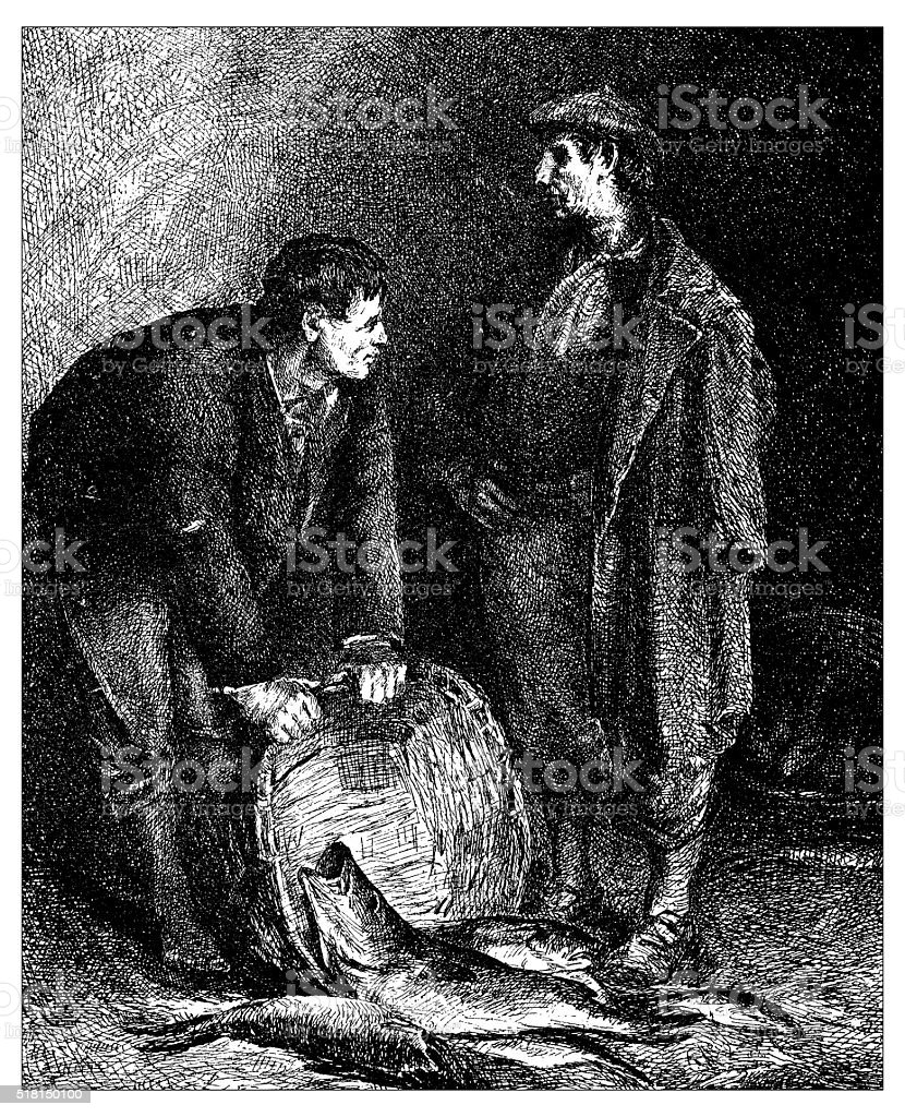 Antique illustration of Two fishermen emptying the basket vector art illustration