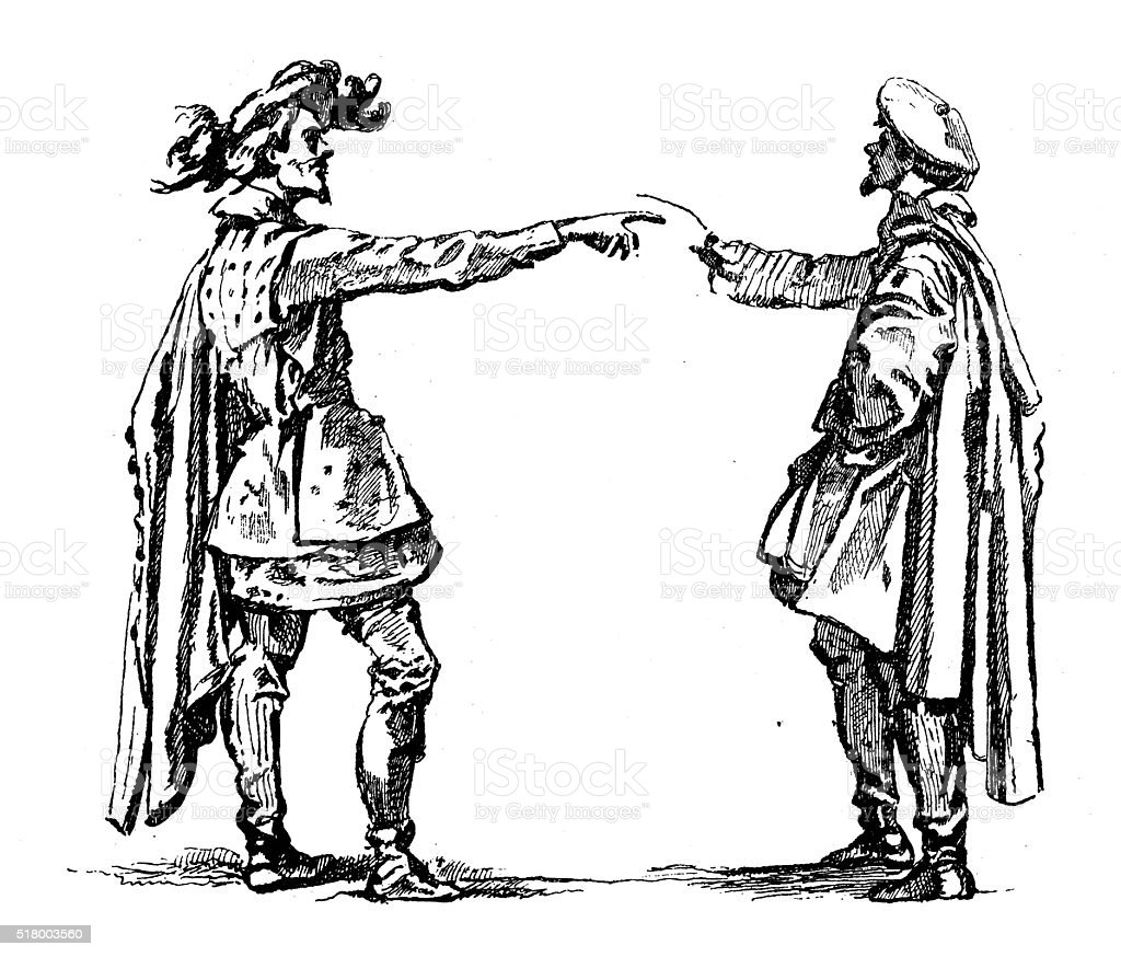 Antique illustration of two men arguing vector art illustration