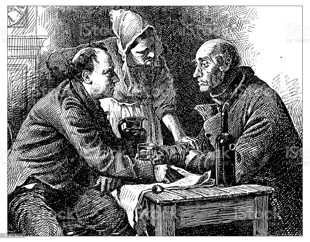 Antique illustration of two people arguing in a tavern vector art illustration