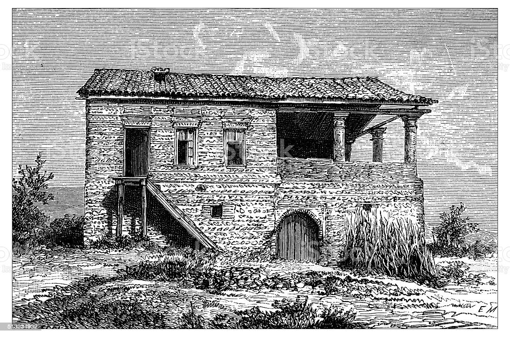 Antique illustration of typical Caucasian house vector art illustration