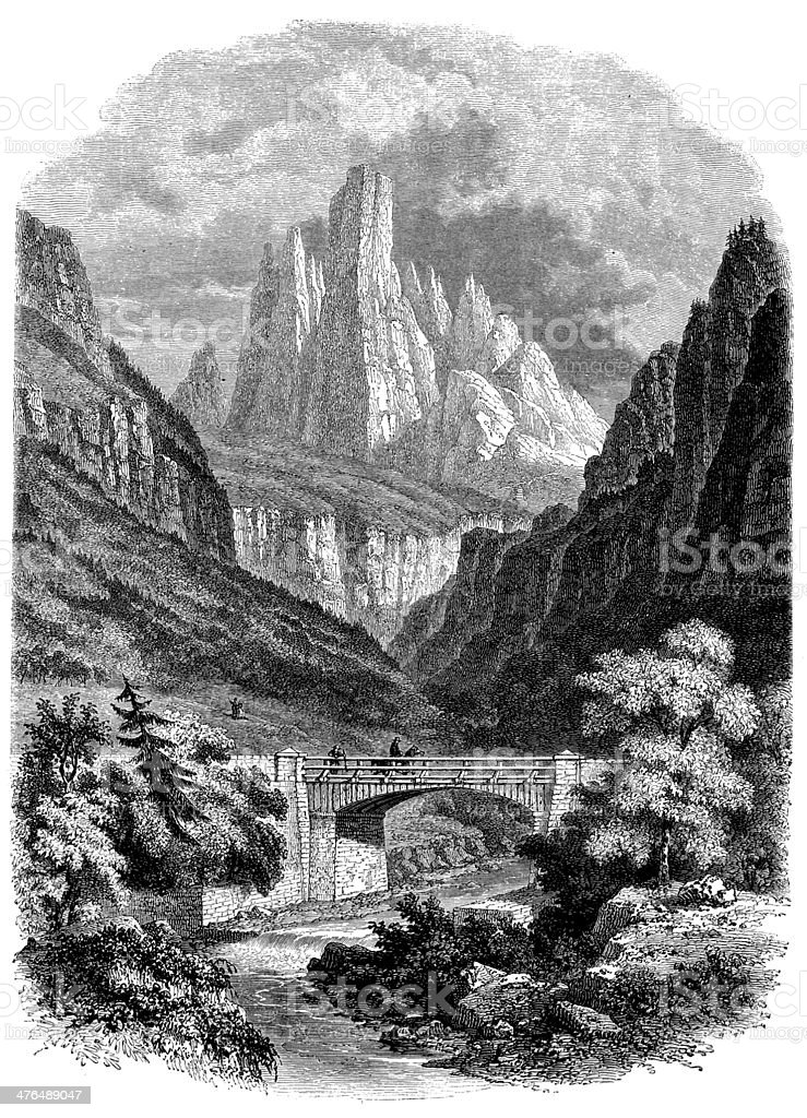 Antique illustration of Tyrol landscape and mountains royalty-free stock vector art