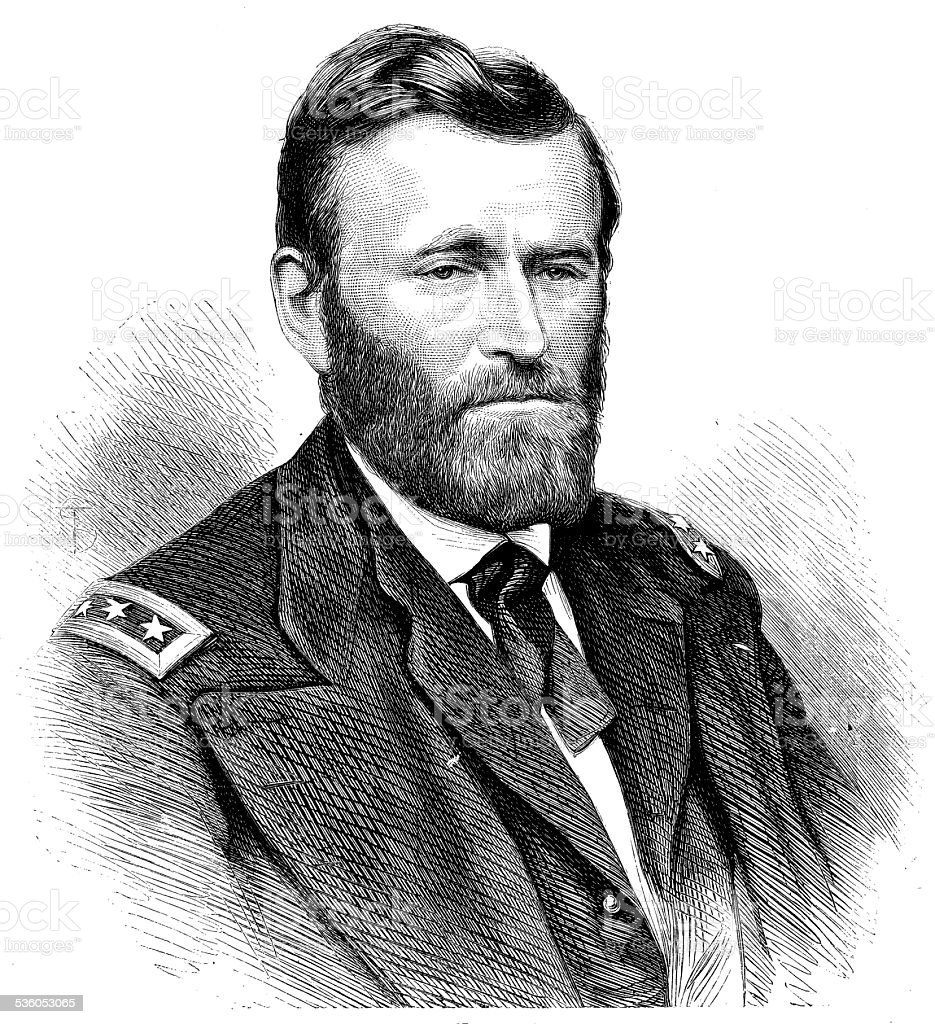 Antique illustration of Ulysses Simpson Grant vector art illustration