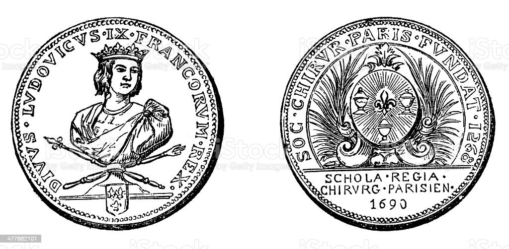 Antique illustration of university old coin medal (1600s) royalty-free stock vector art