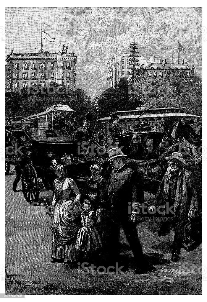 Antique illustration of urban scene in Broadway vector art illustration