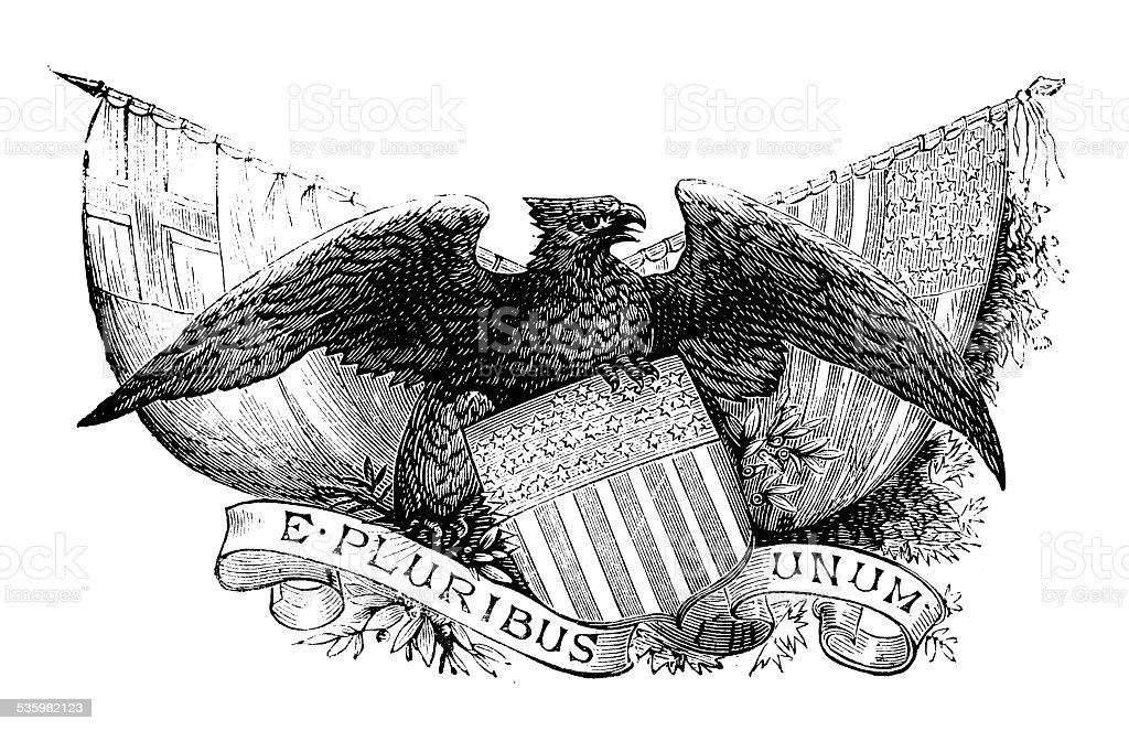 Antique illustration of US emblem vector art illustration