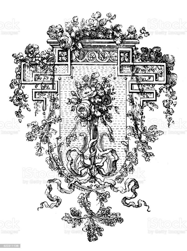 Antique illustration of vegetation-geometry decorative element vector art illustration