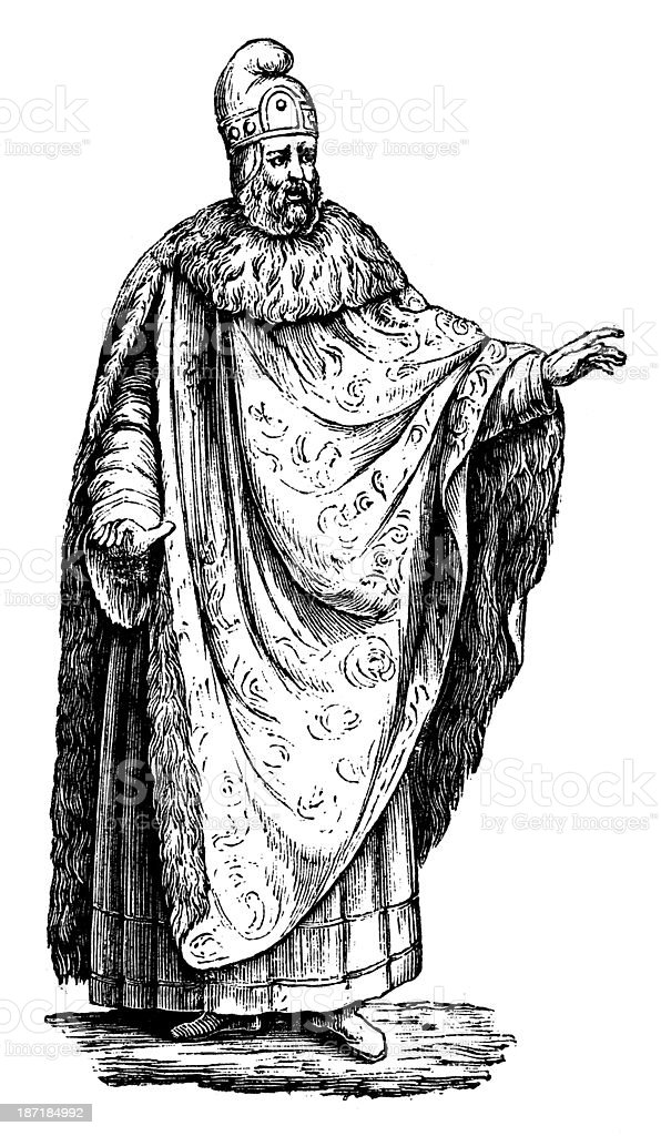 Antique illustration of Venice Doge (duke) vector art illustration