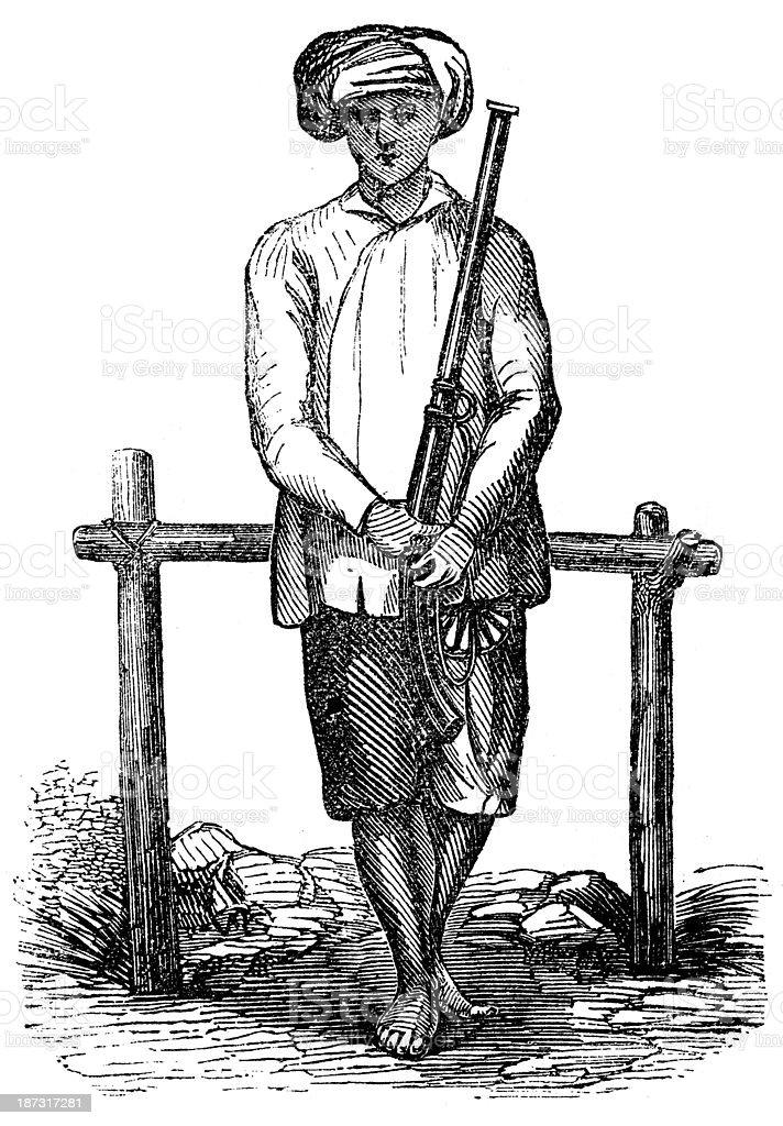 Antique illustration of Vietnamese people vector art illustration