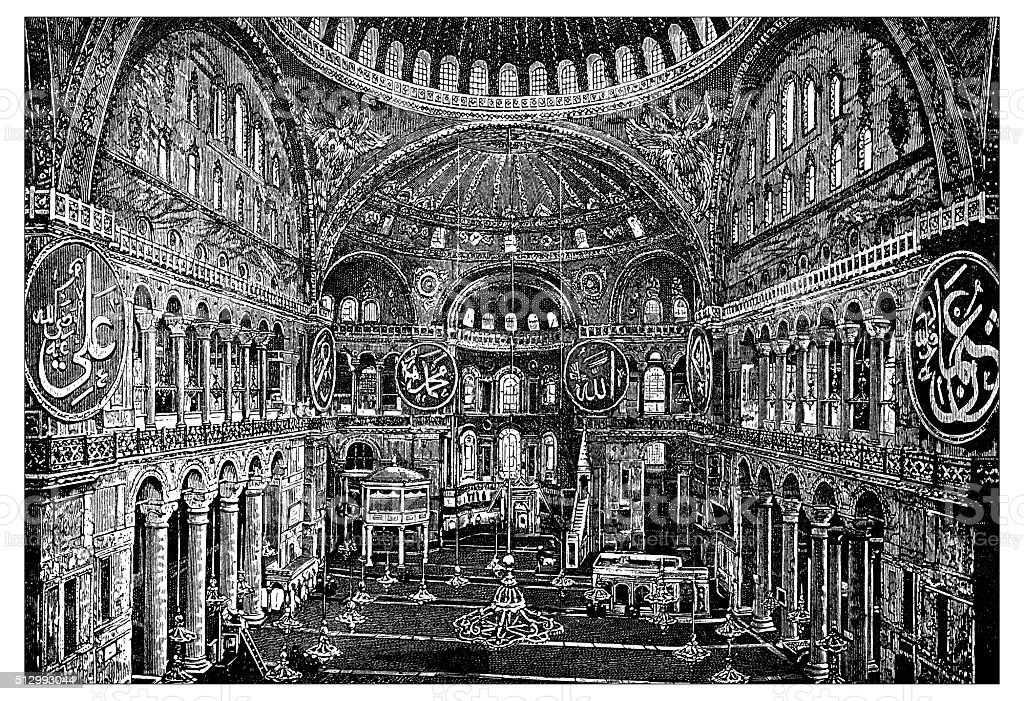 Antique illustration of view of Hagia Sophia, inside (Istanbul, Turkey) vector art illustration