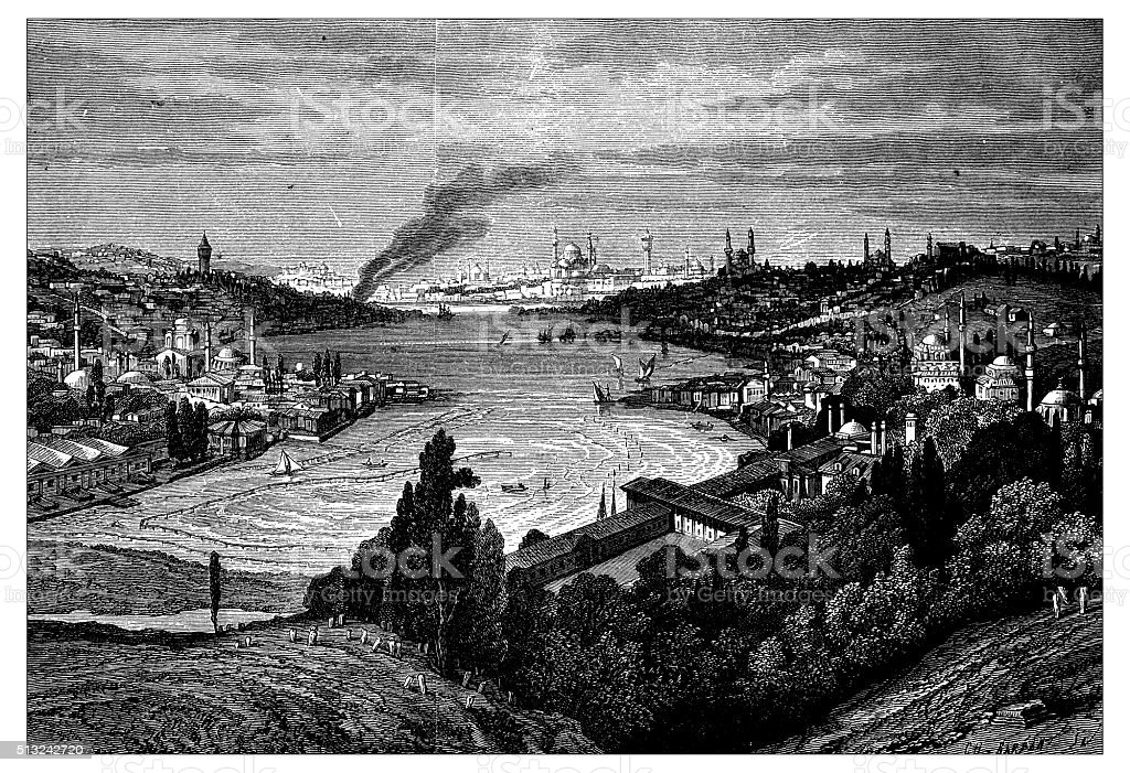 Antique illustration of view of Istanbul (Turkey) with Golden Horn vector art illustration