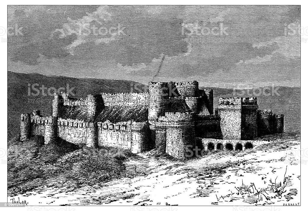 Antique illustration of view of Krak des Chevaliers (Syria) vector art illustration