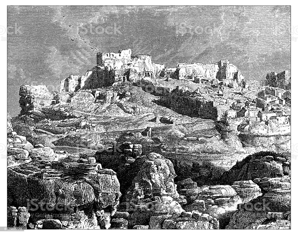 Antique illustration of view of Les Baux-de-Provence (France) vector art illustration