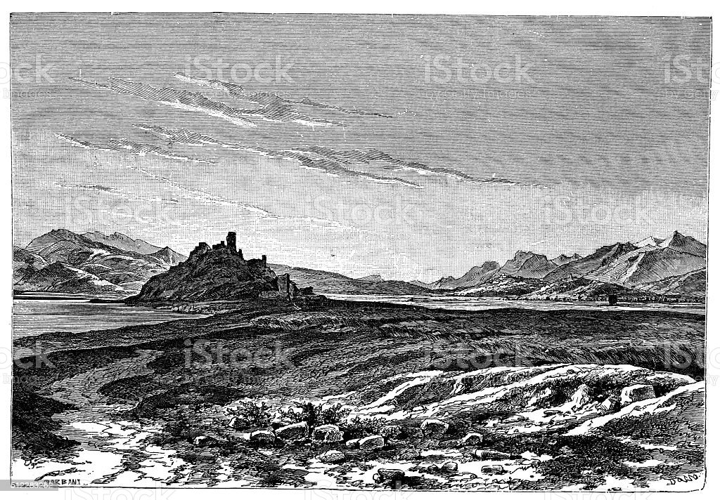 Antique illustration of view of Megara (Greece) vector art illustration