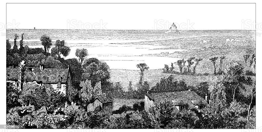 Antique illustration of view of Mont Saint Michel vector art illustration