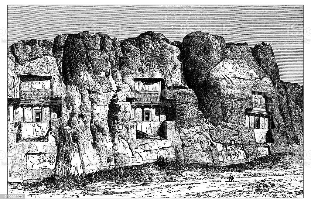 Antique illustration of view of Naqsh-e Rustam necropolis (Iran) vector art illustration