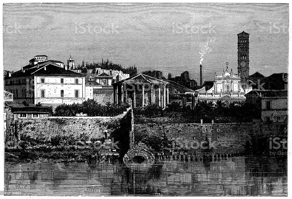 Antique illustration of view of riverfront Tiber (Rome-Italy) with monuments vector art illustration