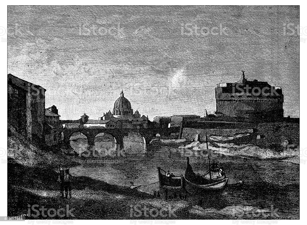 Antique illustration of view of Rome during 19th century vector art illustration