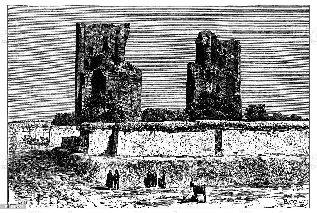 Antique illustration of view of ruins of Bukhara (Uzbekistan) vector art illustration