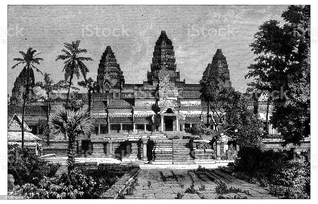 Antique illustration of view of the Angor Wat (front) vector art illustration