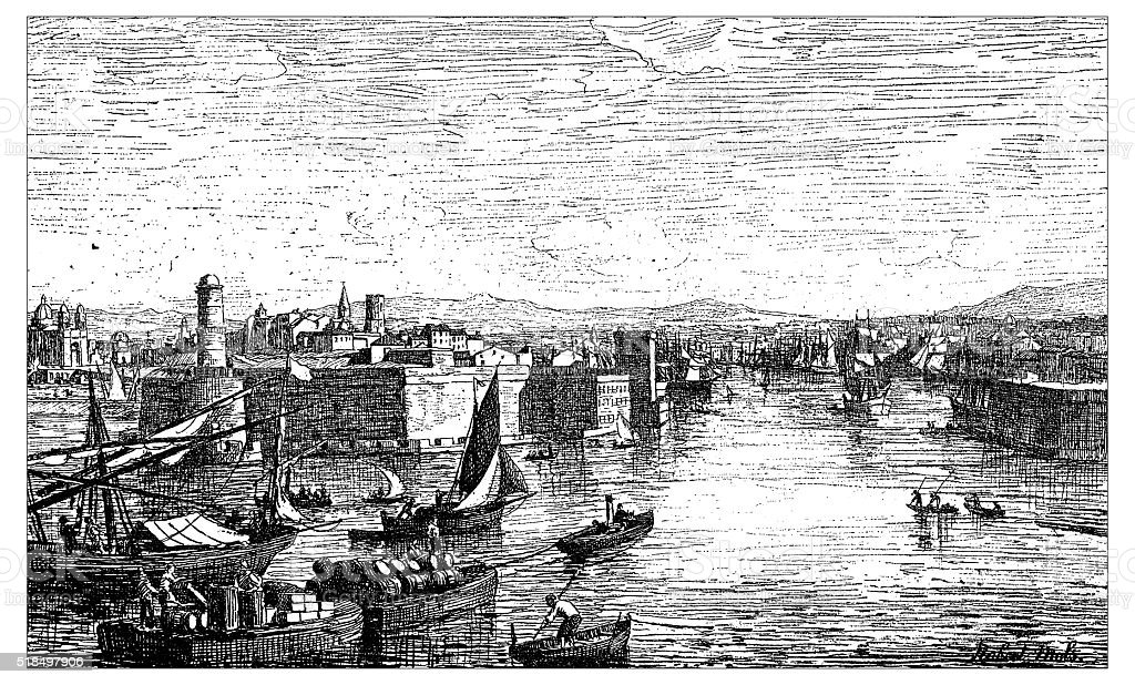 Antique illustration of view of the harbor of Marseilles (France) vector art illustration