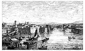 Antique illustration of view of the harbor of Marseilles (France)