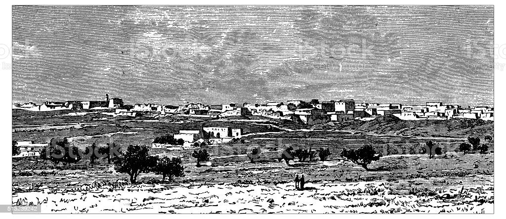 Antique illustration of view of the village of Hunin (Palestine) vector art illustration
